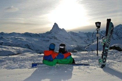The skiing in Zermatt, Switzerland