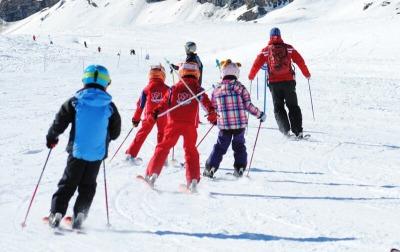 Ski school in Cervinia, Italy